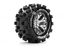 Louise RC - MT-MCROSS - 1-10 Monster Truck Reifen - Fertig Verklebt - Soft - 2.8 Felgen Chrom - 0-Offset - 2.8 Felgen Chrom - 0-Offset - EP STAMPEDE