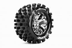 Louise RC - MT-ROCK - 1-10 Monster Truck Reifen - Fertig Verklebt - Soft - 2.8 Felgen Chrom - 1/2-Offset - GP JATO 2WD Hinten - GP STAMPEDE 2WD Hint