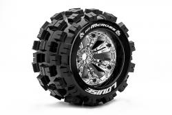Louise RC - MT-MCROSS - 1-8 Monster Truck Reifen - Fertig Verklebt - Medium - 3.8 Felgen Chrom - 1/2-Offset - EP E-REVO Vorder - Hinten - EP SUMMIT