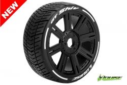 Louise RC - GT-SHIV - MFT Technology - 1-8 Buggy Reifen - Fertig Verklebt - Soft  - Speichen Felgen Schwarz - Hex 17mm - 1 Paar LR-T3284SB