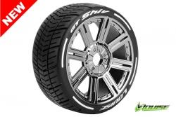 Louise RC - GT-SHIV - MFT Technology - 1-8 Buggy Reifen - Fertig Verklebt - Soft  - Speichen Felgen Schwarz Chrom - Hex 17mm - 1 Paar LR-T3284SBC