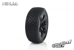 Medial Pro - Racing Reifen und Felgen verklebt - Ninja - M4 Super Soft - Schwarze Felgen - Vorder SLASH 2WD MP-6115-M4