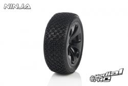 Medial Pro - Racing Reifen und Felgen verklebt - Ninja - M4 Super Soft - Schwarze Felgen - Hinter + Vorder Slash 4WD, Hinter Slash 2WD MP-6315-M4