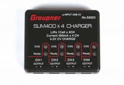 USB Ladegerät SLIM 400 x4 4x 1S 4,2V 400mA Graupner S2023