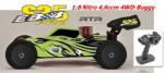 EB4 S2.5 1:8 Nitro 4WD Buggy 4,6ccm RTR 2.4G, GRÜN-Carbon Thunder Tiger 6243-F113