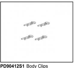 Karosserie-Clipse, klein (4) u.A. für KAISER XS Thunder Tiger PD90412S1