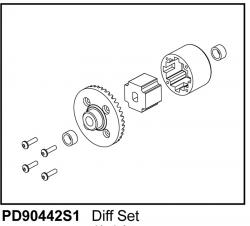 KAISER XS Spool mit Teller-Rad komplett, Vorne - Hinten (1) Thunder Tiger PD90442S1