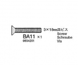 3x18mm Kopfschr.gesenkt 2x Tamiya 9804201