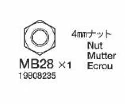Mutter 4 mm (5) BA8 58431 Tamiya 9808235 309808235