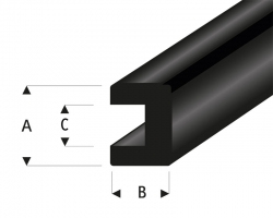 Gummi U-Profil 4,8x8 mm L=2 m Krick rb104-53