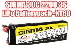 RC Plus - Li-Po Batterypack - Sigma 30C - 2200 mAh - 3S1P - 11.1V - XT-60 RC-G30-2200-3S1P